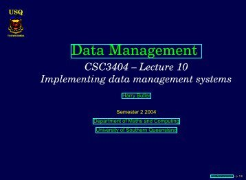 Lecture_10s - University of Southern Queensland