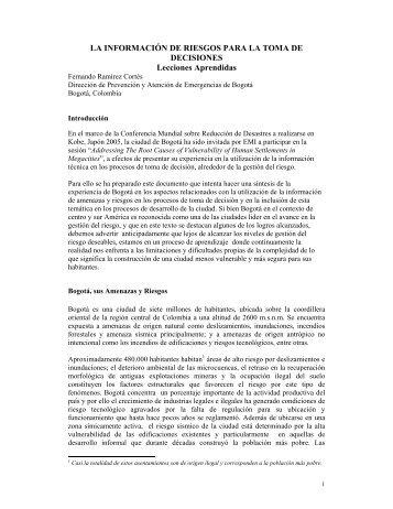 LA INFORMACIÓN DE RIESGOS PARA LA TOMA DE DECISIONES ...