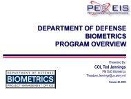 DoD Biometrics Program Review - AFCEA Belvoir