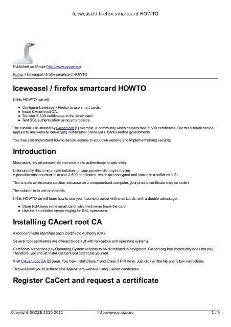 Iceweasel / firefox smartcard HOWTO - GOOZE downloading