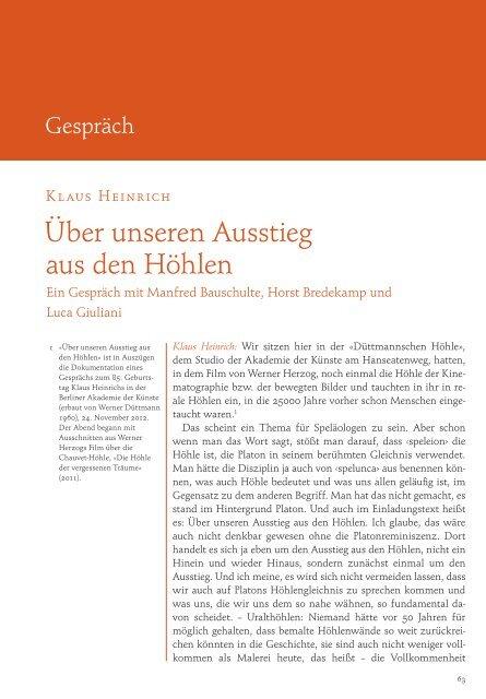Klaus Heinrich - Zeitschrift für Ideengeschichte