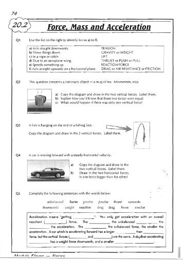 Force, mass and acceleration worksheet - Lesson 1