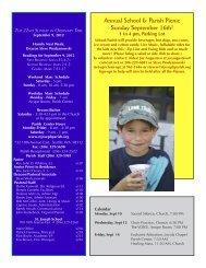 September 9, 2012 Bulletin - St. Joseph Parish