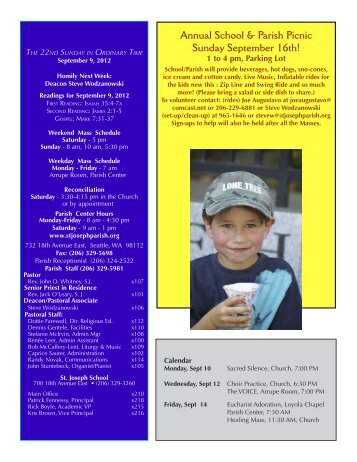 September 9, 2012 Bulletin - St. Joseph Parish