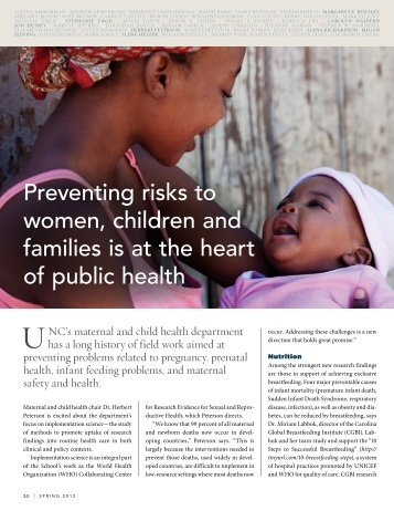 Preventing risks to women, children and families is at the heart of ...