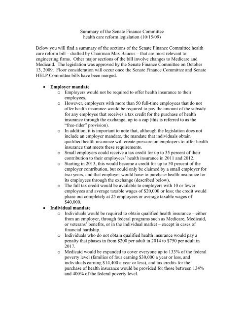 Summary Of The Draft Senate Health Education Labor And Pensions