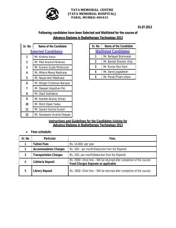 Selected Candidates Waitlisted Candidates - Tata Memorial Centre