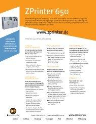 ZPrinter 650 Datenblatt - 3D-Drucker