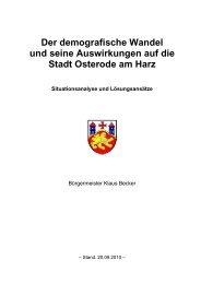 Der demografische Wandel und seine ... - Stadt Osterode am Harz