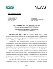 ESS Technology, Inc. and MediaTek Inc. Sign License Agreement ...