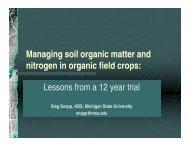 Managing soil organic matter and nitrogen in organic field crops ...