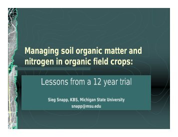 Managing soil organic matter and nitrogen in organic field crops ...