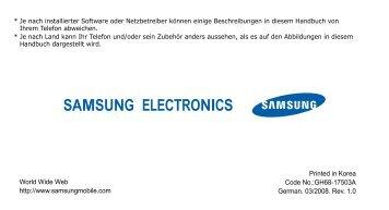 Samsung-U900-Bedienungsanleitung.pdf ... - Fonmarkt.de