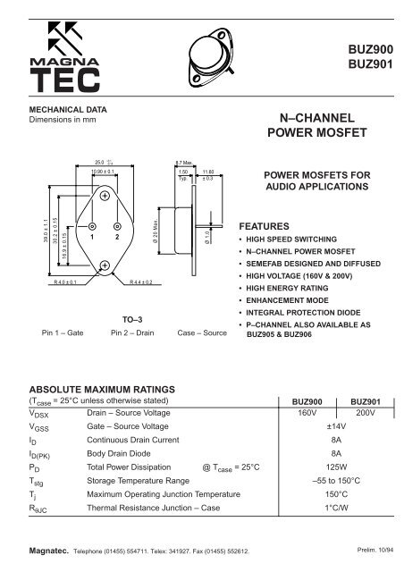 BUZ900 BUZ901 N–CHANNEL POWER MOSFET - Soemtron org