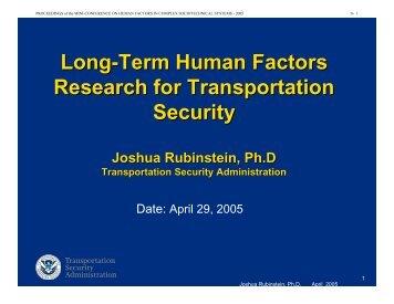 Long-Term Human Factors Research for Transportation Security