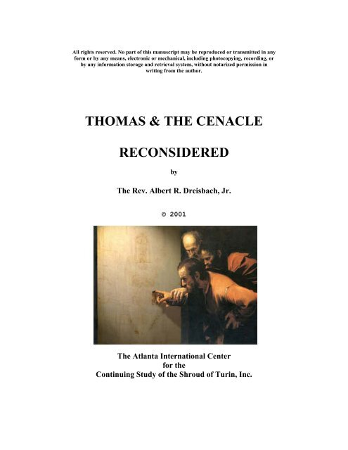 Thomas & the Cenacle Reconsidered - The Shroud of Turin Website