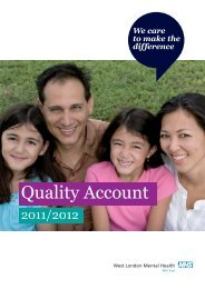 Quality Account 2011/12 - West London Mental Health NHS Trust