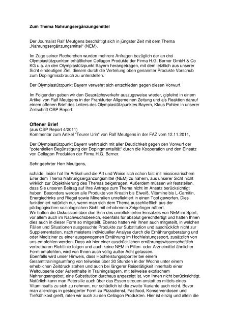 Zum Thema Nahrungsergänzungsmittel - OSP Bayern