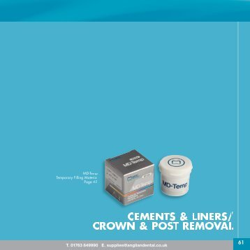 CEMENTS & LINERS/ CROWN & POST REMOVAL - Anglian Dental
