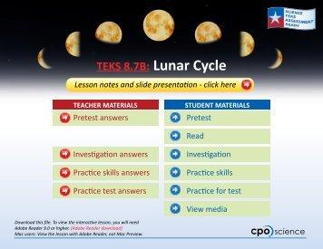 TEKS 8.7B: Lunar Cycle