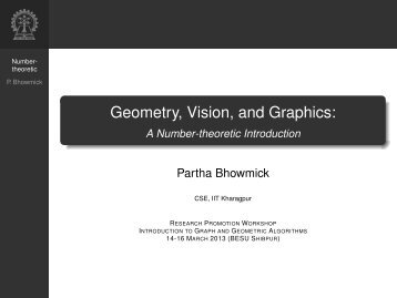 Geometry, Vision, and Graphics: A Number-theoretic Introduction