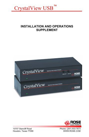 CrystalView USB - Rose Electronics