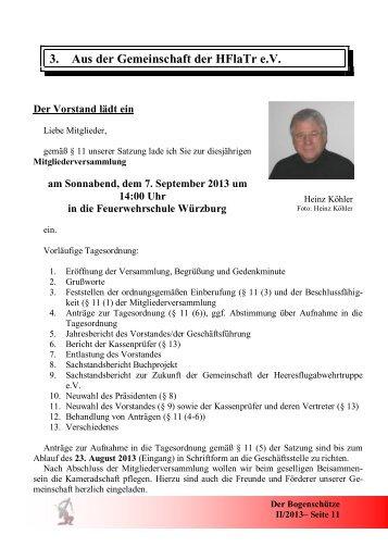 Einladung zur Mitgliederversammlung 2013