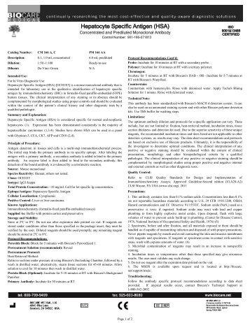 Hepatocyte Specific Antigen (HSA)
