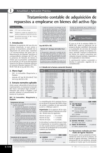 Tratamiento contable de adquisición de repuestos a emplearse en ...
