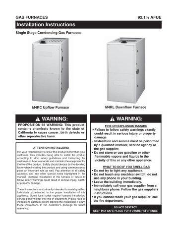 warning - Nordyne