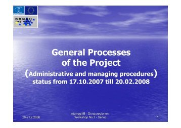 General Processes of the Project - Donauregionen