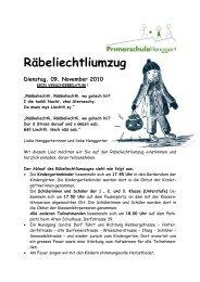Räbeliechtliumzug - Primarschule Henggart