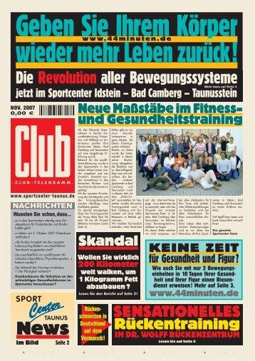Club-News - Fitness und Wellness im SPORT CENTER IDSTEIN, BAD