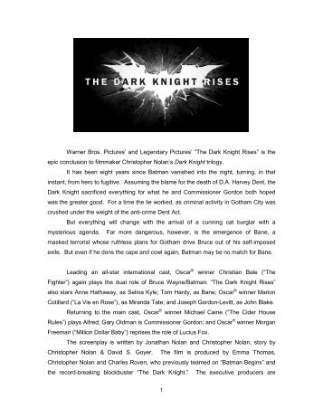 The Dark Knight Rises – Production Notes - I Watch Mike