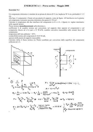 ENERGETICA 1 – Prova scritta – Maggio 2008