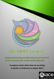 August 2011 MHFE progress report to the Skills Funding Agency