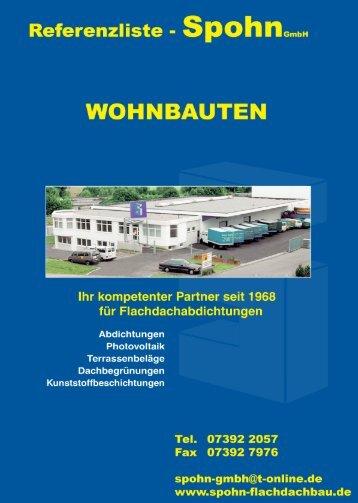 Auszug aus der Referenzliste - Spohn Flachdachbau GmbH