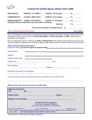 Contract for Exhibit Space- Winter Clinic 2009 - Toronto Academy of ...