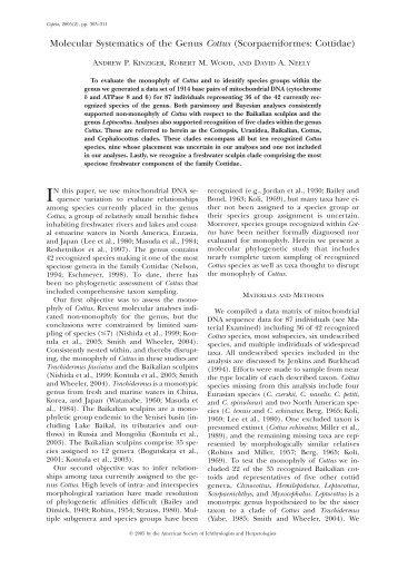 Molecular Systematics of the Genus Cottus ... - BioOne