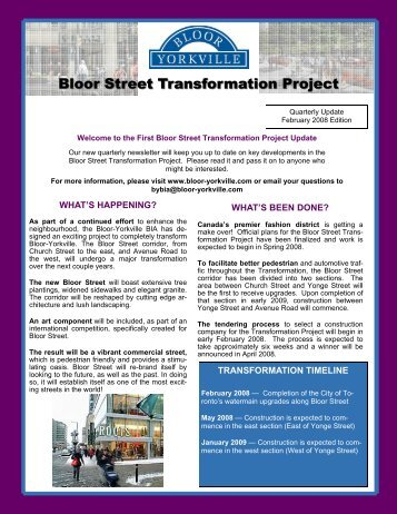 February 2008 Newsletter - Bloor-Yorkville