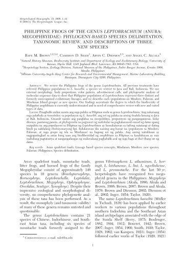 PHILIPPINE FROGS OF THE GENUS LEPTOBRACHIUM ... - BioOne
