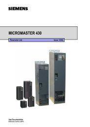 Parameters MICROMASTER 430 - Tecaut