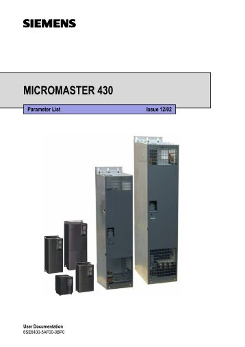 siemens micromaster 420 parameter manual