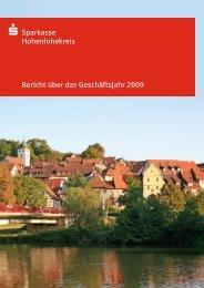 S Sparkasse Hohenlohekreis Bericht über das Geschäftsjahr 2009