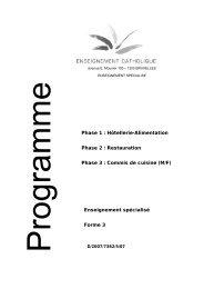 Phase 1 : Hôtellerie-Alimentation Phase 2 : Restauration ... - SeGEC