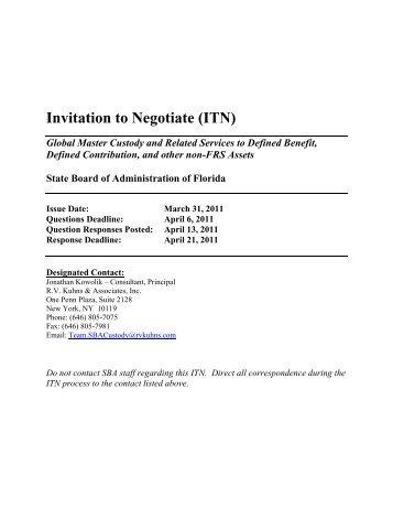 Invitation to negotiate itn florida state board of administration itn document florida state board of administration stopboris Images