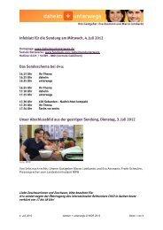 Infoblatt für die Sendung am Mittwoch, 4. Juli 2012 Das - Wdr.de