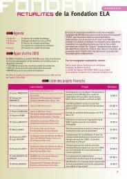 Financements recherche ELA 2009