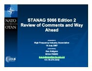 STANAG 5066 Edition 2 Review of Comments and Way Ahead