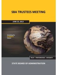 SBA TRUSTEES MEETING - Florida State Board of Administration